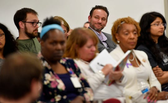 Blanda Nace reacts as Tonya Thompson-Morgan says that Nace may be the best candidate for the newly created chief opportunity development officer, but she disagrees with the way Mayor Helfrich hired him, Monday, June 24, 2019. 