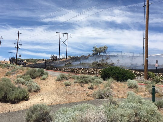 A closer look at the area that caught fire near the Reno Nevada Temple in northwest Reno on June 25, 2019.