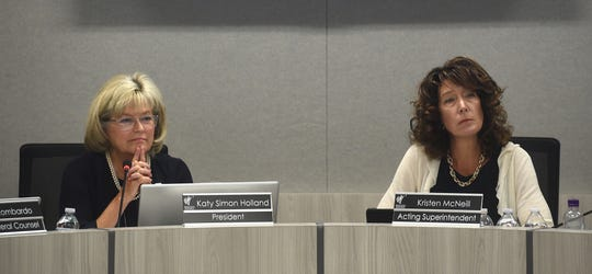 WCSD Board of Trustees President Katy Simon Holland, left, and Acting Superintendent Kristen McNeill preside over the Washoe County School District board meeting in Reno on June 25, 2019.