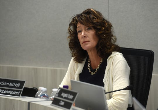 Acting Superintendent Kristen McNeill presides over the Washoe County School District board meeting in Reno on June 25, 2019.