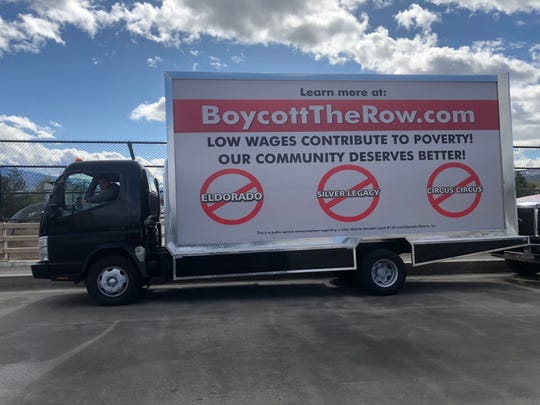 A truck on a stretch of I-80 in Washoe County encourages a boycott of several Eldorado properties in Reno.