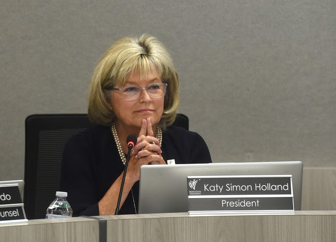 WCSD Board of Trustees President Katy Simon Holland presides over the Washoe County School District board meeting in Reno on June 25, 2019.