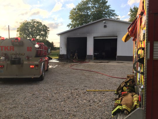A fire Monday evening damaged a race shop on Farlow Road.