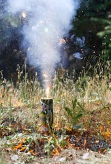 A fireworks fountain starts a grass fire after sending out a shower of sparks. The Shasta Arson Task Force demonstrated Tuesday, June 25, 2019, how fireworks can ignite a fire in seconds. All fireworks are illegal in Shasta County.
