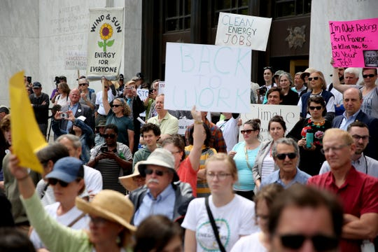 People rally in support of HB 2020, a greenhouse gas emissions cap-and-trade bill, and demand Republican Senators return to the Legislature at the Oregon State Capitol in Salem on June 25, 2019. Sen. Peter Courtney has said the bill couldn't pass even if the Republicans return to vote.