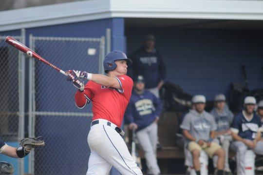Shippensburg catcher Jack Goertzen takes a swing.