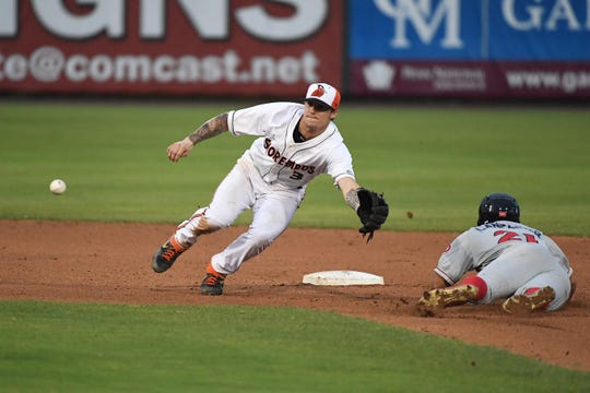 Delmarva Shorebirds Cadyn Grenier tries to make the play at 2nd against the Lakewood Blueclaws at the Arthur W. Perdue stadium on Monday, June 24, 2019.