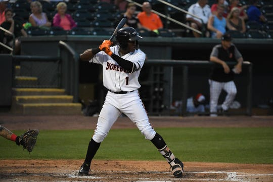 Delmarva Shorebirds JC Encarnacion at bat against the Lakewood Blueclaws at the Arthur W. Perdue stadium on Monday, June 24, 2019.