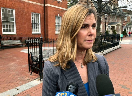 In this March 11, 2019, file photo, Anne Arundel County State's Attorney Anne Colt Leitess talks to reporters after a court hearing in Annapolis for Jarrod Ramos, who is charged with killing five people at The Capital Gazette newspaper office in June 2018.