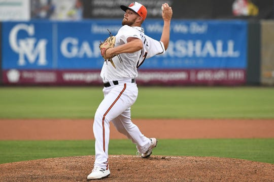 Delmarva Shorebirds Gray Fenter on the mound against the Lakewood Blueclaws at the Arthur W. Perdue stadium on Monday, June 24, 2019.
