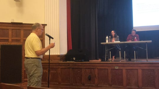 Joe Valentine speaks about groundwater withdrawal permits for 49 poultry farms in Accomack  County, at a public hearing in Oak Hall, Virginia on Monday, June 24,2019.