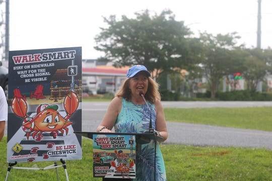 Maryland State Senator Mary Beth Caorzza speaks at the ground breaking ceremony of a pedestrian/bicycle pathway in West Ocean City on June 25, 2019.