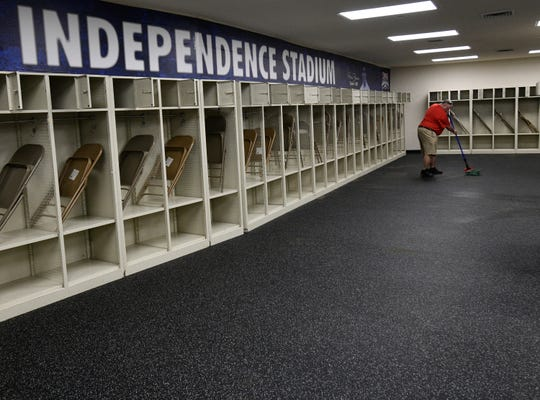 New flooring in the Independence Stadium locker rooms.