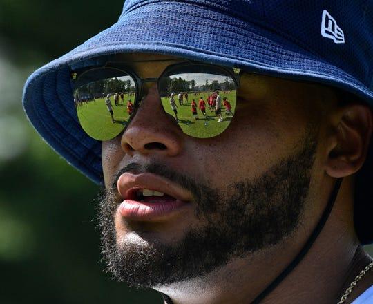 Dallas Cowboys quarterback Dak Prescott, returned to Haughton for his annual football camp on Tuesday.