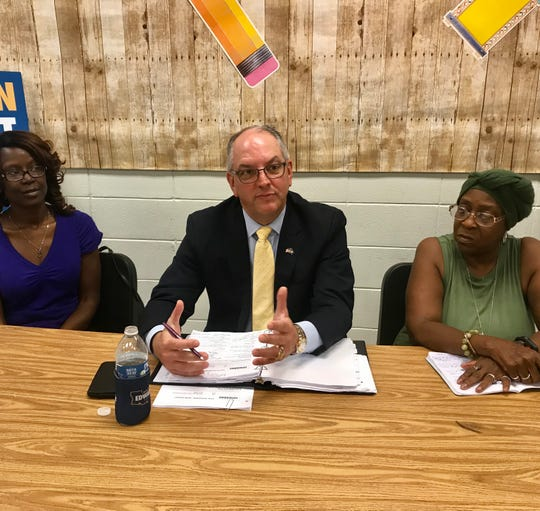 Gov. John Bel Edwards spoke to teachers and school support workers at Southwood High School in Shreveport Tuesday.
