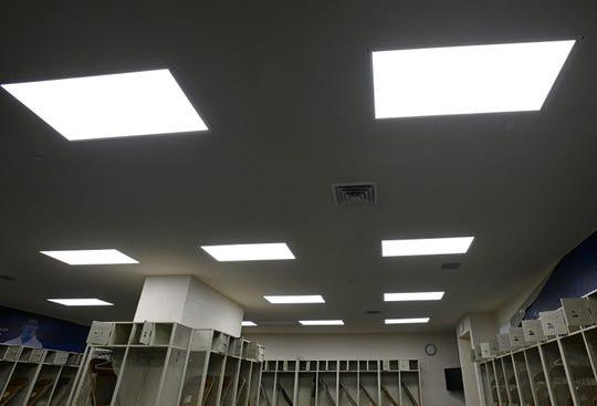 New lighting in the Independence Stadium locker rooms.