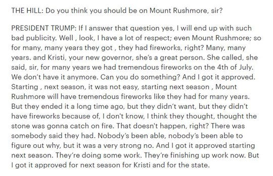 President Donald Trump discusses Mount Rushmore during an interview with The Hill on Monday.