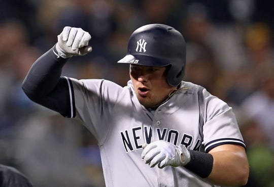 Former Missouri State star Luke Voit has appeared on 20 games since joining the Yankees.   AP Photo/Ben Margot New York Yankees' Luke Voit celebrates after hitting a home run off Oakland Athletics' Fernando Rodney during the eighth inning of a baseball game Tuesday, Sept. 4, 2018, in Oakland, Calif.