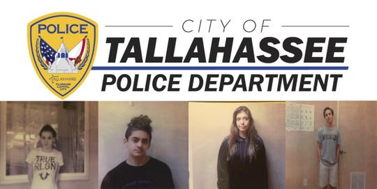 The Tallahassee Police Department is looking for four missing teenagers: Rhinnon Griffin, left,  John Breaux, Katherine Morgan, and Anthony Pappas.