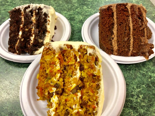 Hopkins tempting cakes include chocolate carrot, carrot and divine chocolate (boy, this makes me happy).