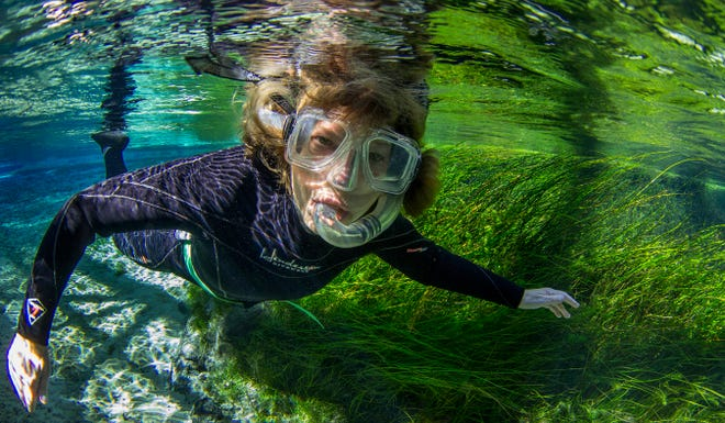 """Mary Powell snorkeling in """"The Serengeti Rules'' documentary."""