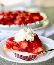 Old Fashioned Fresh Strawberry pie holds together with a graham cracker crust.