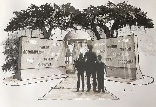 "Artist and sculptor Ross Power's rendition of the ""Words From War"" monument proposed for near Riverside Park in Vero Beach."