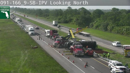 A mulch truck crashed on northbound Florida's Turnpike Tuesday in St. Lucie County.