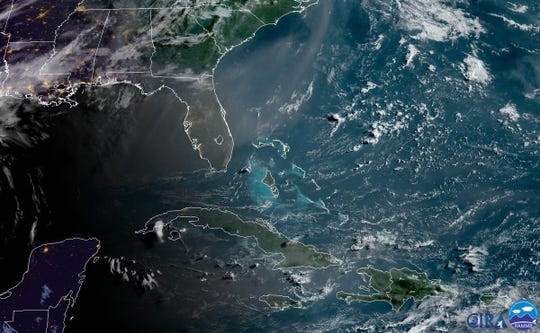 Saharan Dust seen over parts of the Caribbean and the state of Florida on June 25, 2019.