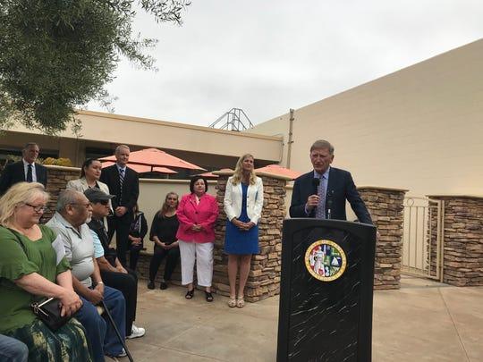 Bill Foley, director of the Ventura County Health Care Agency, speaks Monday outside Santa Paula Hospital.