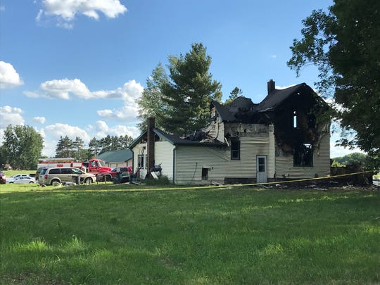 A house along County DD was destroyed by fire early Tuesday, June 25, 2019. Six people were reported dead.