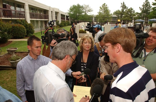 In this 2003 Times Record News file photo, Wichita Falls State Rep. David Farabee faces newspaper reporters, television photographers and every type of media that converged on the Holiday Inn in Ardmore, Oklahoma to cover the walk out of the Texas Democrats from the Legislature. Poto by Harry Tonemah