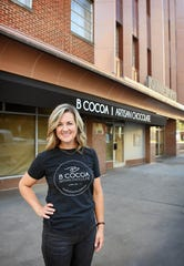 Brooke Willis outside the future location of her business, B Cocoa Artisan Chocolate, currently in the Finishing Touch Plaza. The new site is in the Oil & Gas Building and will double the  square footage and will feature a drive-up window.