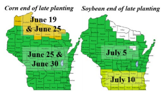 These maps shows the dates for the end of the late planting periods for each Wisconsin county.