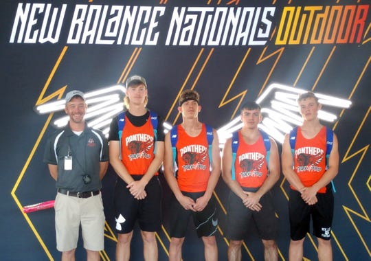 The New Lexington 800 sprint relay competed and finished 17th in the Elite Emerging Division of the New Balance Nationals earlier in June. Pictured (from left to right) are Coach Brett Vermillion, Austin Tharp, C.J. Ratliff, Donavin Spears and Jacob Vance.
