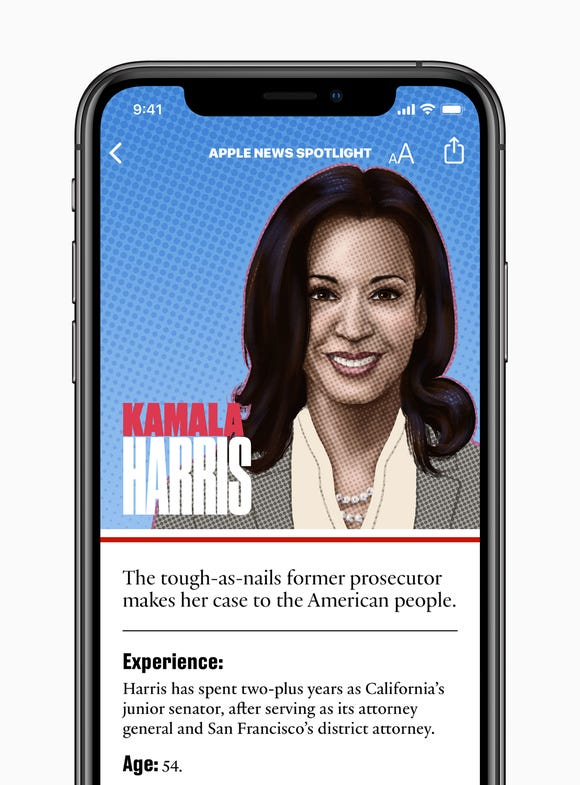 Kamala Harris's Apple News profile