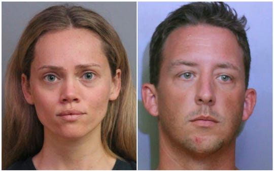 This combination of booking photos provided by the Polk County Sheriff's Office shows Courtney Irby on June 15, 2019, and her husband Joseph Irby on June 14.