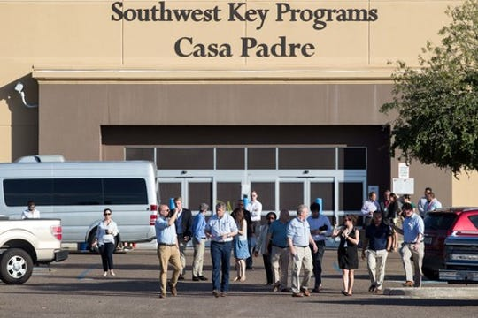 June 17, 2018; Brownsville, TX, USA; A delegation of democratic lawmakers visit the Southwest Key Casa Padre Facility. Mandatory credit: Courney Sacco/Caller-Times via USA TODAY NETWORK ORIG FILE ID:  20180617_pjc_usa_004.JPG