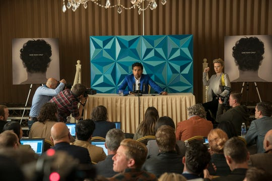 "With his manager Debra (far right, Kate McKinnon), Jack Malik (Himesh Patel) finds overnight success a stressful situation in ""Yesterday."""