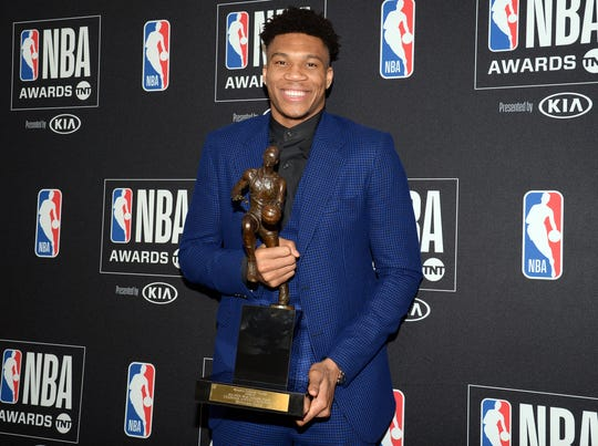 Giannis Antetokounmpo was all smiles after winning his first MVP award.