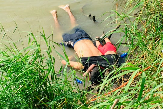 The bodies of Salvadoran migrant  Óscar Alberto Martínez Ramírez and his nearly 2-year-old daughter, Valeriam on the bank of the Rio Grande in Matamoros, Mexico, on June 24, 2019, after they drowned trying to cross the river to Brownsville, Texas.