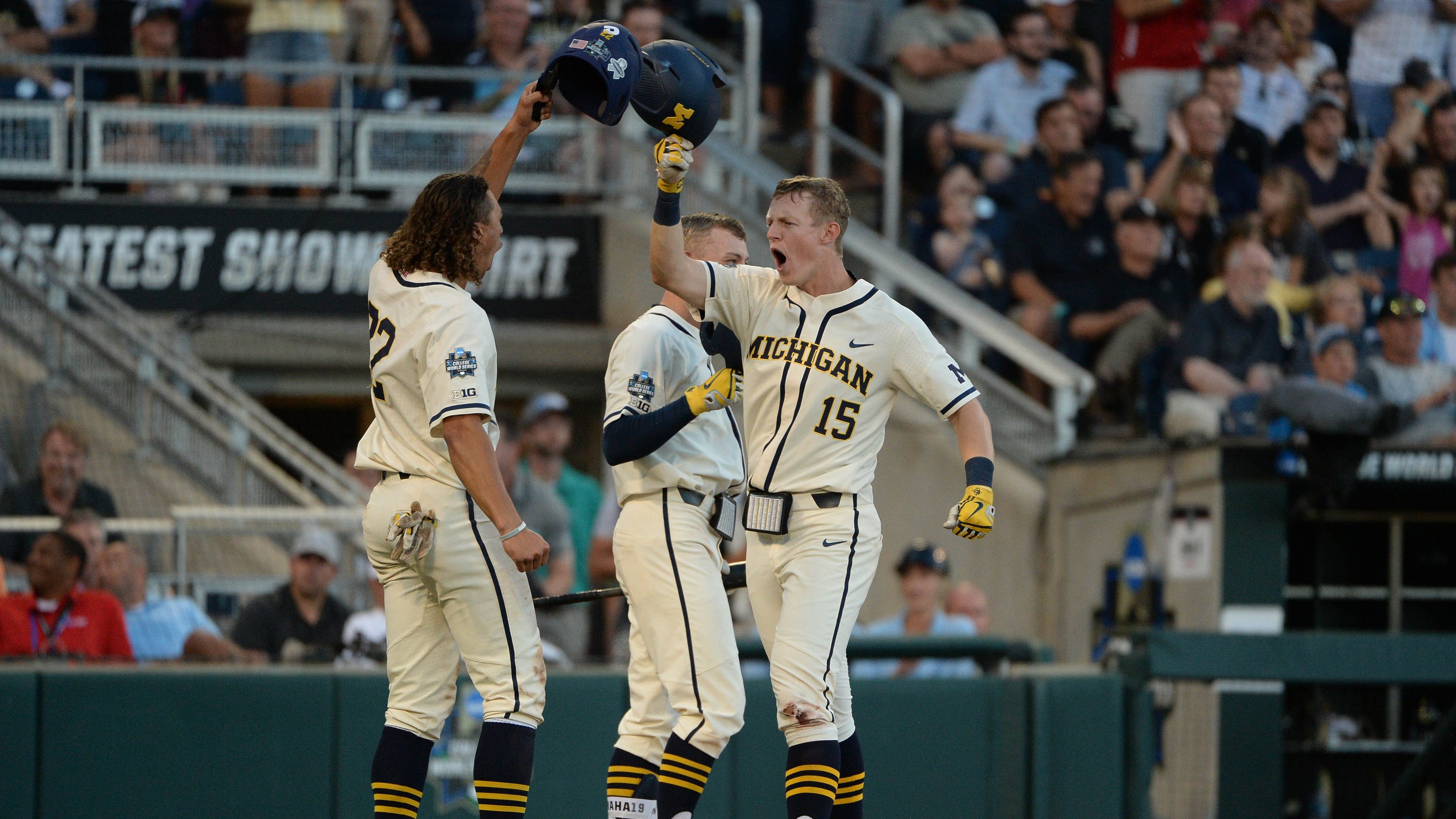 College World Series: Michigan pounds Vanderbilt in Game 1 of championship series