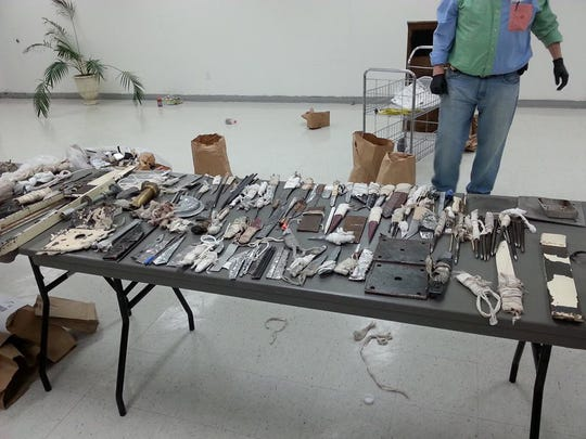 Dozens of weapons seized by corrections officials are displayed after a shakedown at Wilkinson County Correctional Facility in 2017. This image was posted to the Mississippi Department of Corrections' Facebook page.