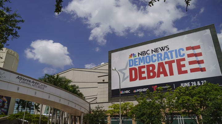 MIAMI, FL - JUNE 25: The Adrienne Arsht Center for the Performing Arts is seen where the first NBC Democratic presidential primary debates for the 2020 elections will take place, June 25, 2019 in Miami, Florida. Twenty candidates will participate in two groups June 26 and 27. NBC News, MSNBC and Telemundo are hosting the debates. (Photo by Drew Angerer/Getty Images) ORG XMIT: 775360291 ORIG FILE ID: 1151859245