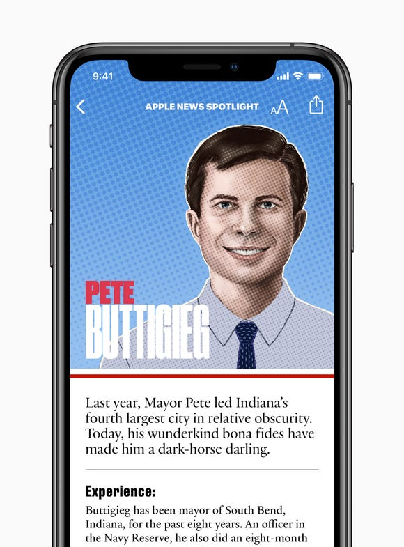 Apple News profile guide for Pete Buttigieg