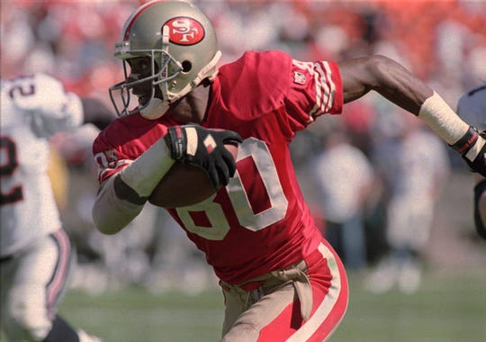 Jerry Rice is more than 6,000 yards ahead of the next-nearest player on the all-time career receiving yardage list.