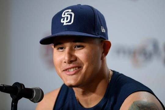 Padres' Manny Machado talks to the media about his return to Baltimore.