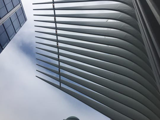 "Looking up at the underside of a ""wing"" of the Oculus, the transportation hub at the World Trade Center."