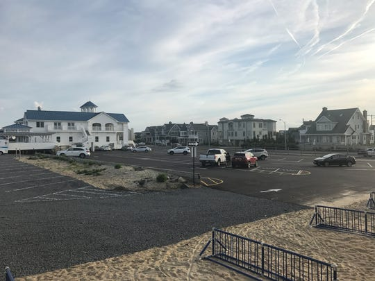 The Monmouth Beach Bathing Pavilion. A new parking configuration directs motorists to back-in park. June 25, 2019.
