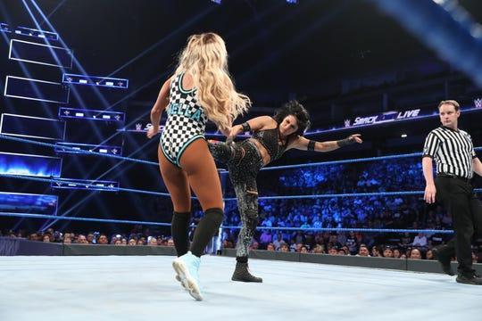"""Shamong native Daria Berenato, right, wrestles for the WWE's """"SmackDown Live"""" program as Sonya Deville."""